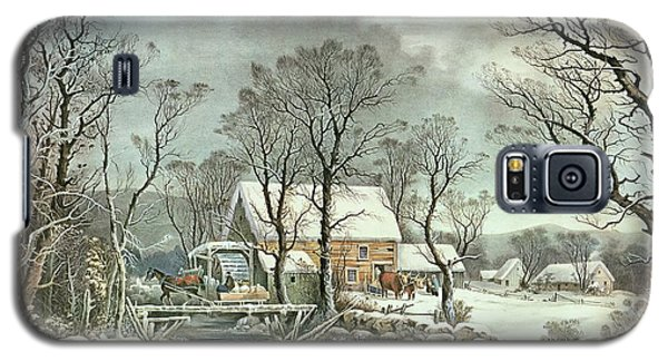 Icy Galaxy S5 Case - Winter In The Country - The Old Grist Mill by Currier and Ives