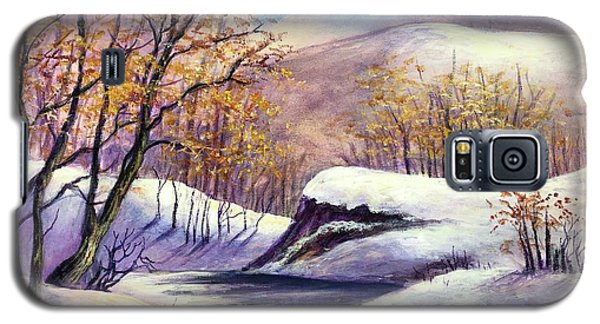 Galaxy S5 Case featuring the painting Winter In The Garden Of Eden by Randol Burns