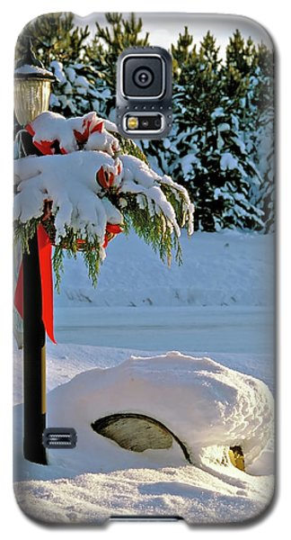 Winter Lamp Post In The Snow With Christmas Bough Galaxy S5 Case
