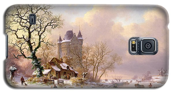 Castle Galaxy S5 Case - Winter Landscape With Castle by Frederick Marianus Kruseman