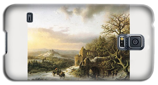 Winter Landscape With Peasants Gathering Wood Galaxy S5 Case by Reynold Jay