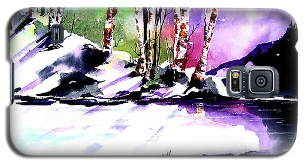 Galaxy S5 Case featuring the painting Winter Mountain by Marti Green