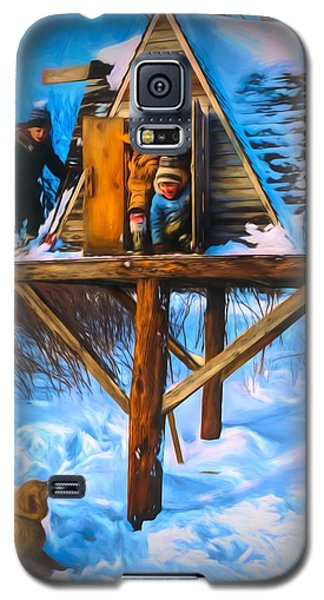 Winter Scene Three Kids And Dog Playing In A Treehouse Galaxy S5 Case