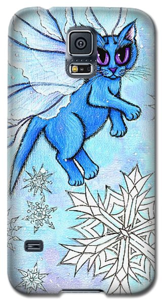 Galaxy S5 Case featuring the painting Winter Snowflake Fairy Cat by Carrie Hawks