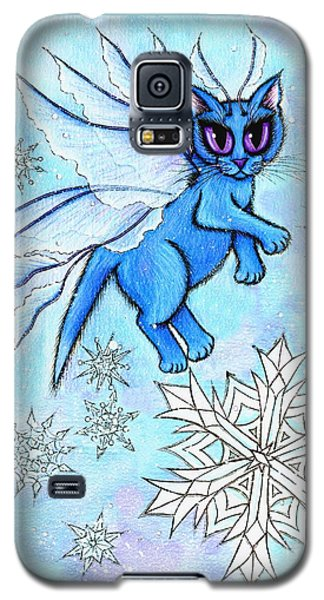 Winter Snowflake Fairy Cat Galaxy S5 Case by Carrie Hawks
