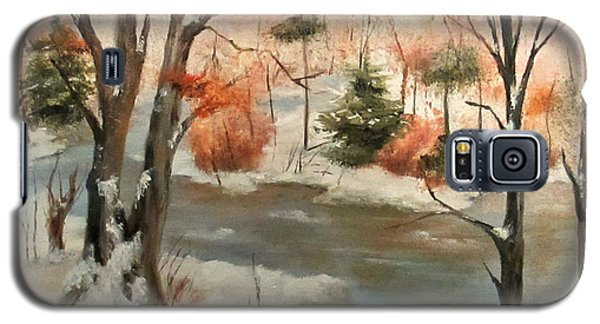 Galaxy S5 Case featuring the painting Winter Stream by Roseann Gilmore