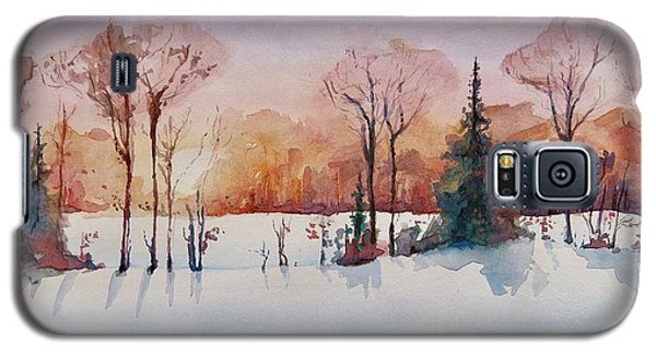 Galaxy S5 Case featuring the painting Winter Sunrise by Geni Gorani