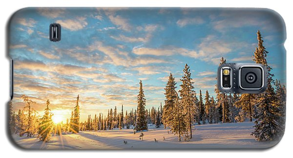 Galaxy S5 Case featuring the photograph Winter Sunset by Delphimages Photo Creations