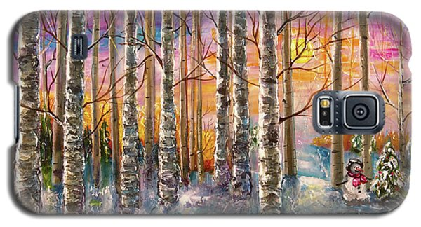 Dylan's Snowman - Winter Sunset Landscape Impressionistic Painting With Palette Knife Galaxy S5 Case