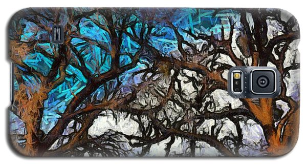 Galaxy S5 Case featuring the photograph Winter Trees At Fort Tejon Lebec California Abstract by Floyd Snyder