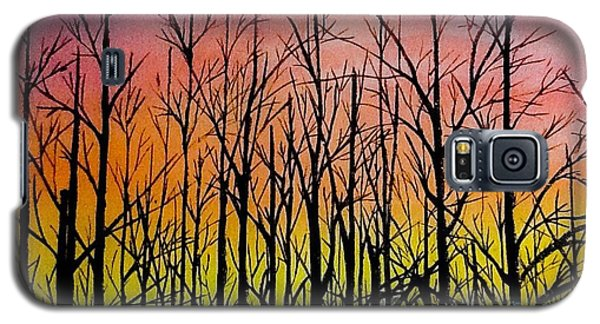 Galaxy S5 Case featuring the painting Winter Trees At Sunset by Ellen Canfield