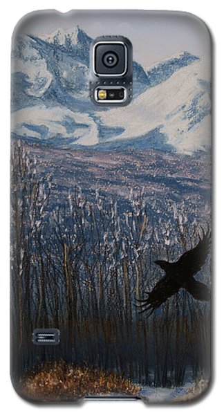 Galaxy S5 Case featuring the painting Winter Valley Raven by Stanza Widen