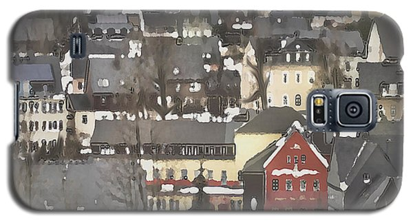 Winter Village With Red House Galaxy S5 Case
