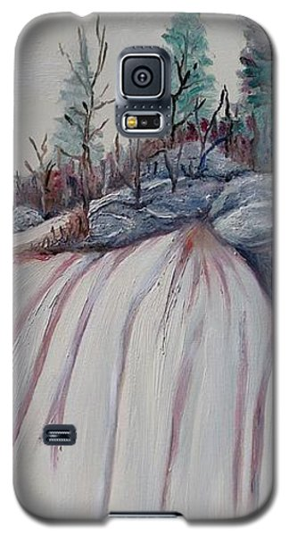 Galaxy S5 Case featuring the painting Winter Waterfall by Marilyn  McNish