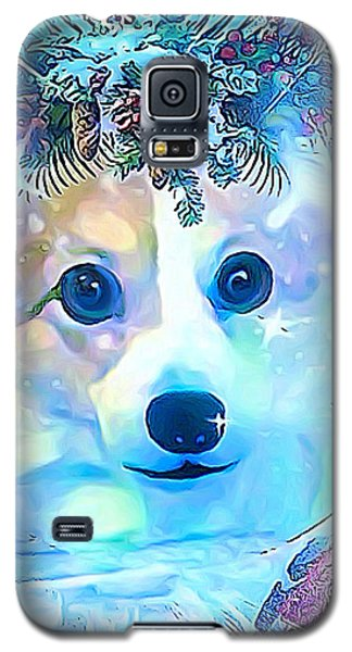 Galaxy S5 Case featuring the digital art Winter Welsh Corgi by Kathy Kelly