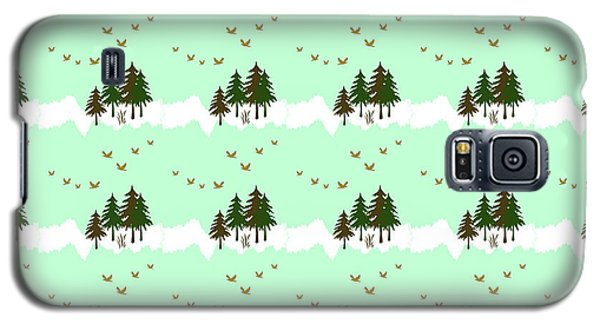 Galaxy S5 Case featuring the mixed media Winter Woodlands Bird Pattern by Christina Rollo