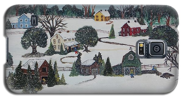 Galaxy S5 Case featuring the painting Winters Last Snow by Virginia Coyle