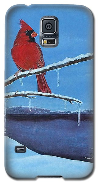 Galaxy S5 Case featuring the painting Winter's Red by Susan DeLain