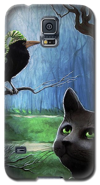Galaxy S5 Case featuring the painting Wit's End - Winter Nightime Forest by Linda Apple