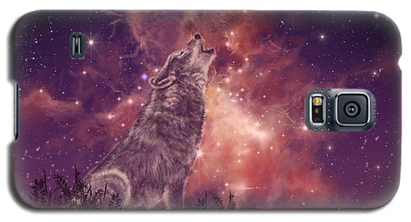 Mountain Galaxy S5 Case - Wolf And Sky Red by Bekim Art