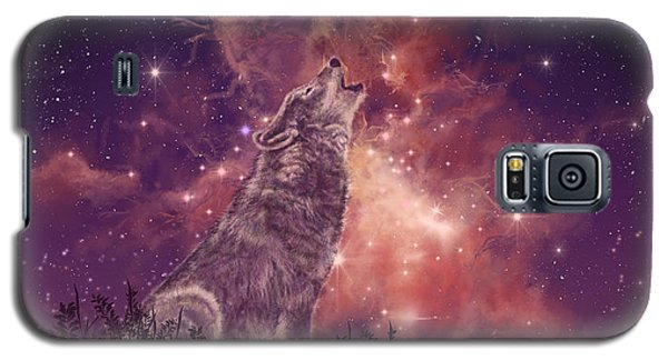 Landscapes Galaxy S5 Case - Wolf And Sky Red by Bekim Art