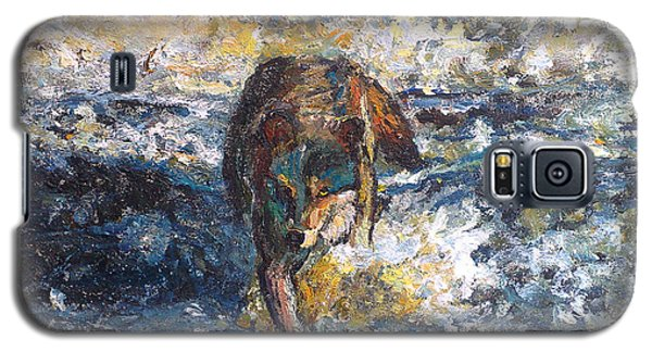 Galaxy S5 Case featuring the painting Wolf Crossing The River by Koro Arandia