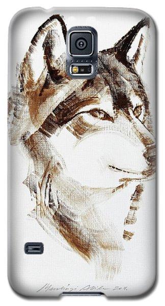 Wolf Head Brush Drawing Galaxy S5 Case