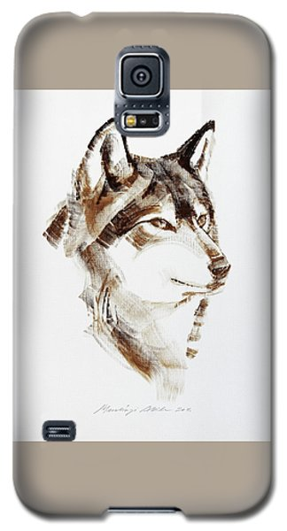 Wolf Head Brush Drawing Galaxy S5 Case