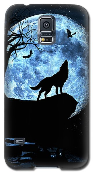 Wolf Howling At Full Moon With Bats Galaxy S5 Case