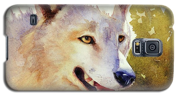 Galaxy S5 Case featuring the painting Wolf In Morning Light by Bonnie Rinier