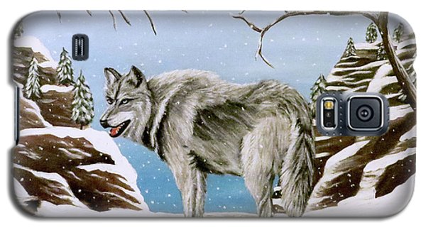 Galaxy S5 Case featuring the painting Wolf In Winter by Teresa Wing