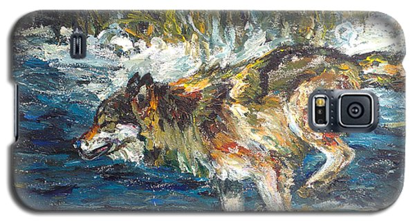 Galaxy S5 Case featuring the painting Wolf Running by Koro Arandia