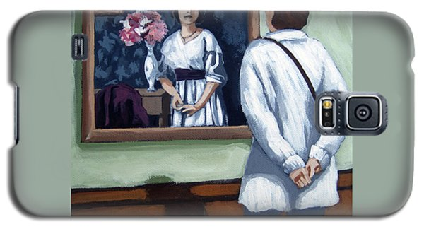 Galaxy S5 Case featuring the painting Woman At Art Museum Figurative Painting by Linda Apple
