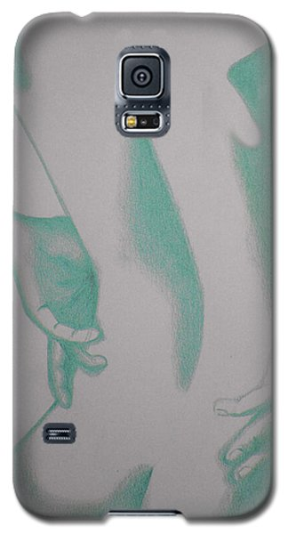 Galaxy S5 Case featuring the drawing Woman Back Green by Fanny Diaz