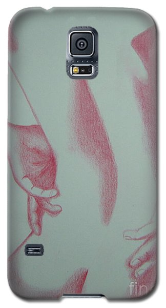 Galaxy S5 Case featuring the drawing Woman Back Red by Fanny Diaz