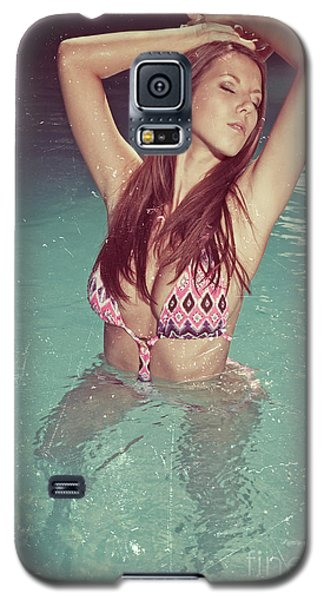 Woman In Bikini In The Water And Retro Look Image Finish Galaxy S5 Case