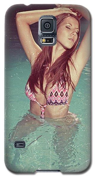 Woman In Bikini In The Water And Retro Look Image Finish Galaxy S5 Case