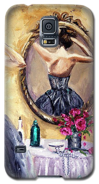 Galaxy S5 Case featuring the painting Woman In Mirror by Jennifer Beaudet