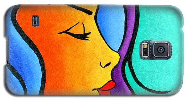 Galaxy S5 Case featuring the painting Woman Of Color, Eyes Closed by Bob Baker