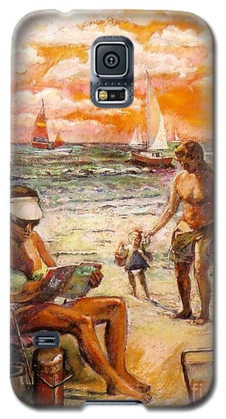 Woman Reading On The Beach Galaxy S5 Case by Stan Esson