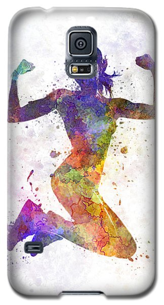 Woman Runner Jogger Jumping Powerful Galaxy S5 Case