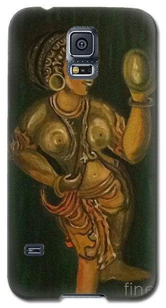 Galaxy S5 Case featuring the painting Woman With A Mirror Sculpture by Brindha Naveen