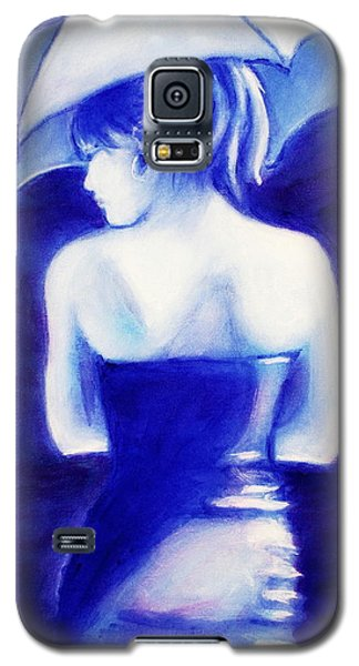 Woman With An Umbrella Blue Galaxy S5 Case