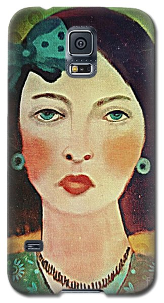 Galaxy S5 Case featuring the digital art Woman With Blue Hair Bow by Alexis Rotella