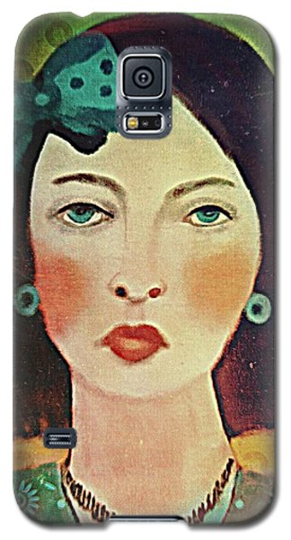 Woman With Blue Hair Bow Galaxy S5 Case by Alexis Rotella