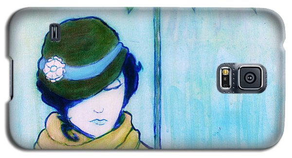Woman With Green Umbrella Galaxy S5 Case