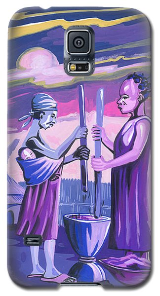 Galaxy S5 Case featuring the painting Women Pounding Cassava by Emmanuel Baliyanga