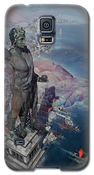 Galaxy S5 Case featuring the digital art wonders the Colossus of Rhodes by Te Hu