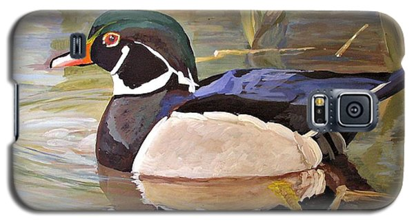 Galaxy S5 Case featuring the painting Wood Duck On Pond by Laurie Rohner