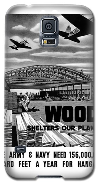 Galaxy S5 Case featuring the painting Wood Shelters Our Planes - Ww2 by War Is Hell Store